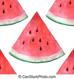 Vector seamless watercolor hand drawn watermelon pattern