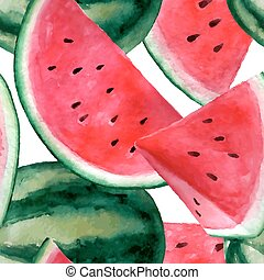 Vector seamless watercolor hand drawn watermelon pattern.