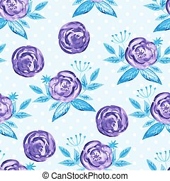 Vector Seamless Watercolor Pattern with Purple Roses