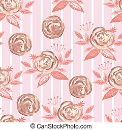 Vector Seamless Watercolor Pattern with  Roses and Stripes