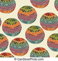 Vector seamless winter Christams pattern with Fir Tree balls...