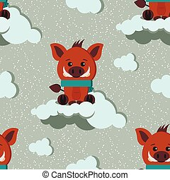 Vector seamless winter pattern with cute wild boar with scarf, clouds ornament on snowy background.