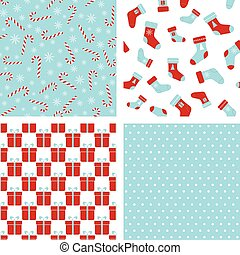 Vector seamless winter patterns. Christmas backgrounds