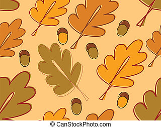 vector seamless with oak leaves and acorns