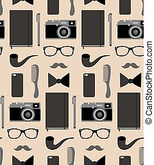 Vector seamlss pattern of content of hipsters bag with comb, notepad, mobile phone, camera, glasses etc. in flat style.