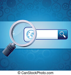 Vector search concept - address bar with globe icon and...