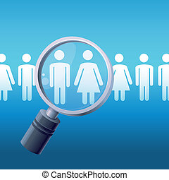 Vector search concept - magnify glass and male and female...