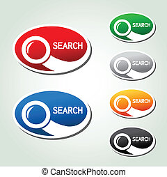 Vector search oval buttons, stickers with magnifier symbol...