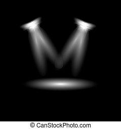 Vector searchlight. Black scene