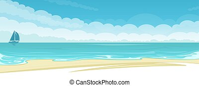 Vector seascape background - Seascape background with beach...