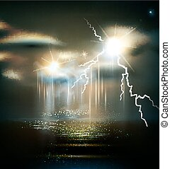 vector seascape with storm, bad weather,thunderstorm
