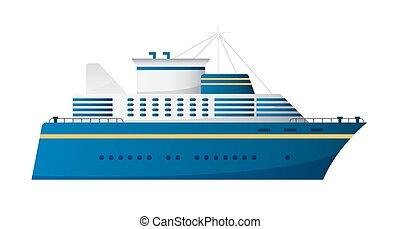 Vector seaway and ocean water transport passenger ship transatlantic cruise liner trendy flat design, side view