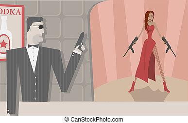 Vector secret agents - Vector cool secret agents, man and...