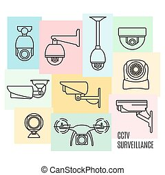 Vector security camera line icon set, flat design