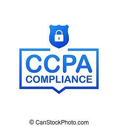 vector, security., ccpa, diseño, sitio web, protection., ...
