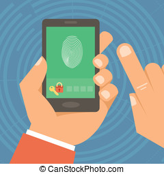 Vector security concept in flat style - hand holding mobile...