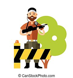 Vector Security Post. Flat style colorful Cartoon...