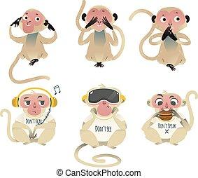 Vector see no evil hear no evil speak no evil apes