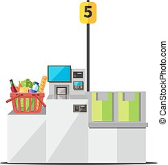 Vector red shopping basket full of grocery standing on a grey metal self checkout machine with cash and card payment, and bagging area