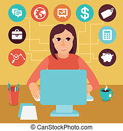 Vector self employed woman in flat style - Vector self...