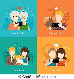 Vector selfie design concepts. Creative people, mobile...