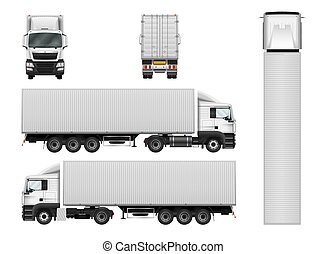 Vector semi truck template with cargo container. Truck trailer isolated on white background