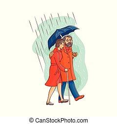 Vector senior old couple walking under umbrella