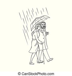 Vector senior old couple walking under umbrella