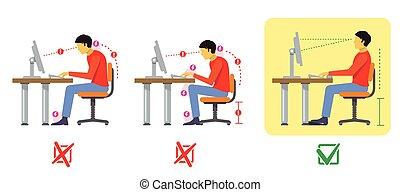 vector, sentado, espina dorsal, estilo, posture., plano, correcto, malo, diagrama