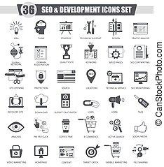 Vector SEO and development black icon set. Dark grey classic  design for web.
