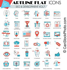 Vector SEO and development ultra modern outline artline flat line icons for web  apps.
