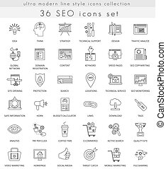Vector SEO and development ultra modern outline line icons for web  apps.