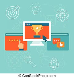 Vector seo concept in flat style - top ranking website on...