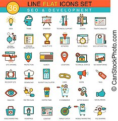 Vector SEO development flat line icon set. Modern elegant style design for web.