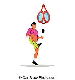 The athlete kicks the ball in the basket. Isolated on a white background