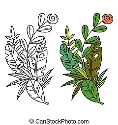 Vector separated illustration of tropical leaves and flower.