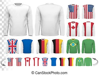 vector, ser, poseer, camisa, lata, sleeved, largo, template...