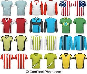 vector, ser, poseer, colección, su, shirts., utilizado, ...