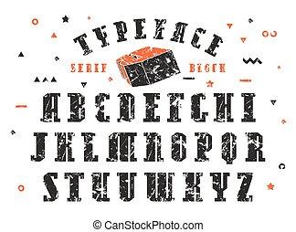 vector, serif, conjunto, fuente, acción