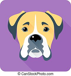 dog Boxer icon flat design