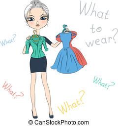 Vector seriousl fashion girl top model trying on dresses -...