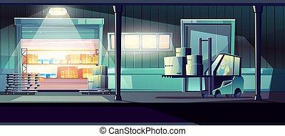 vector, servicio, almacén, entrega, concepto, 24-h