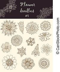 Vector set #1: doodle flowers. Series of doodles.