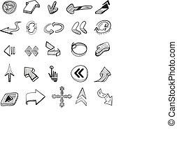 Vector set: 25 hand drawn arrows - 25 hand drawn arrows....