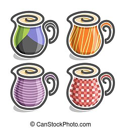 Vector set abstract icons Milk Jug: colorful minimalistic...