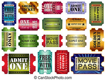 vector set: admit one tickets, vector illustration