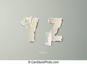vector set alphabet torn paper with transparent tape