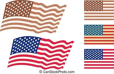 Vector set American flags