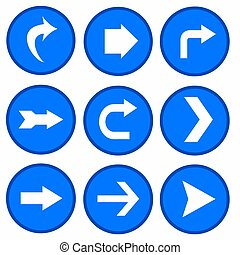 vector set - arrows in blue circles