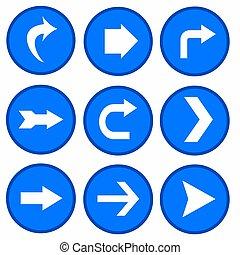 vector set - arrows in blue circles